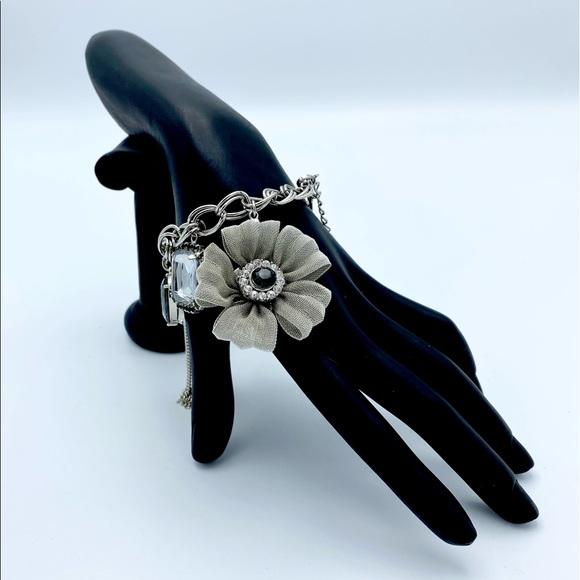Flower Tassel Rhinestone Charm Chunky Lnk Bracelet